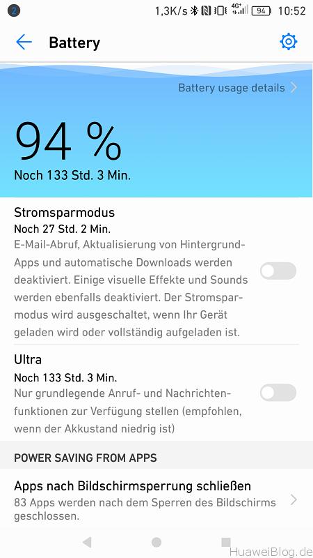 Huawei P9 Android N Akku Verwaltung