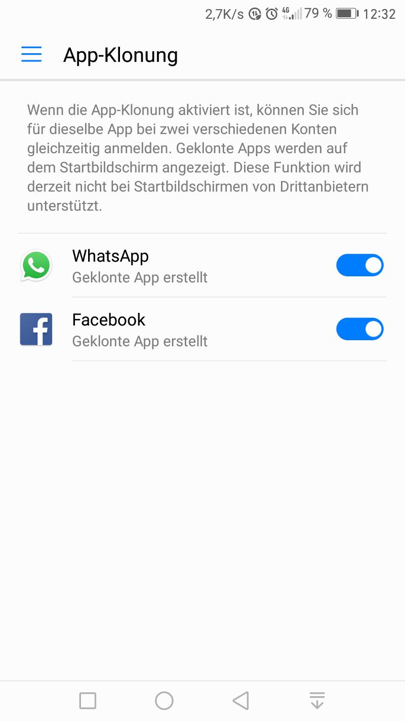 App-Klonung aktiviert