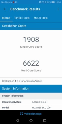 honor View 10 Geekbench Benchmark