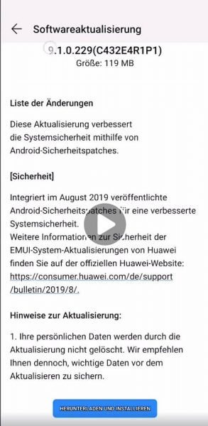 Sicherheitspatch August Mate 20 Lite 9.1.0.229