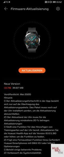 Watch GT2 Fimrware Changelog Mai