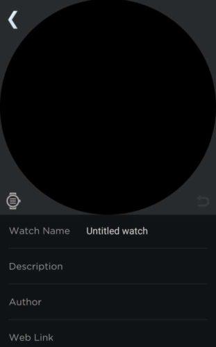 Einstellungen für neues Watchface