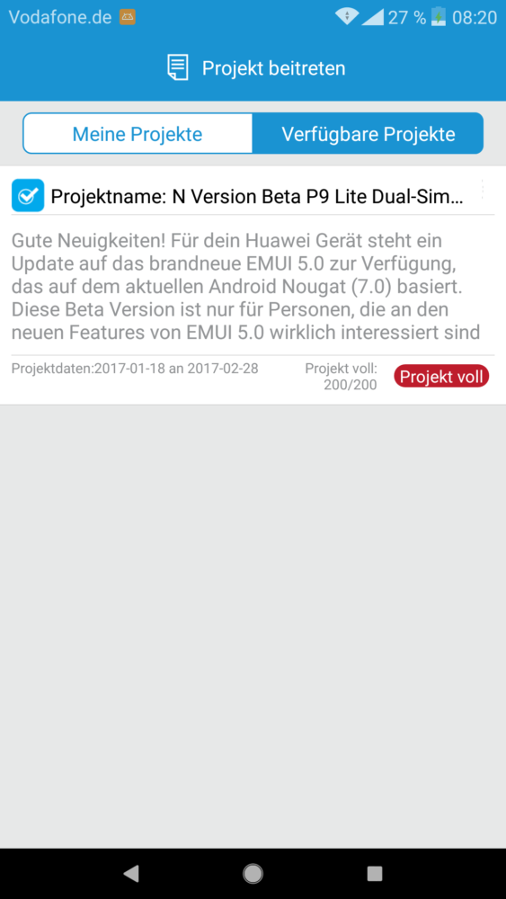 Huawei Android Nougat / Android 7 Beta P9 App lite