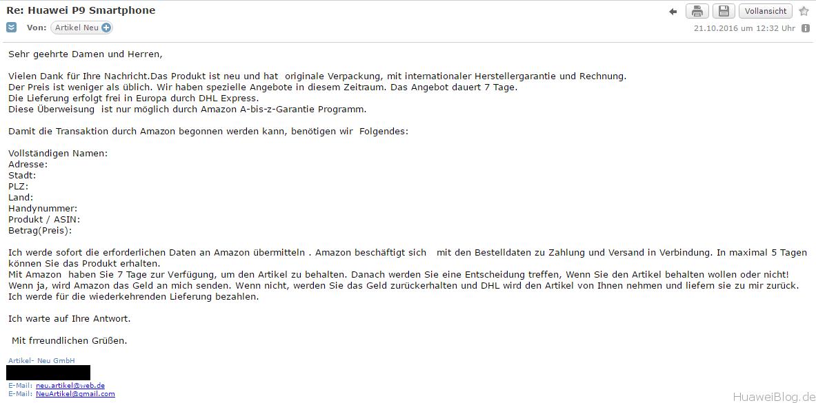 amazon betrugsmasche erste-mail
