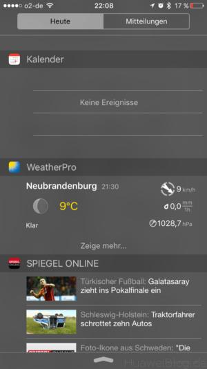 iOS Mitteilungszentrale Widgets