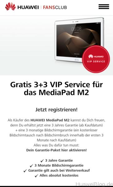 3+3 VIP Service - Huawei MediaPad M2