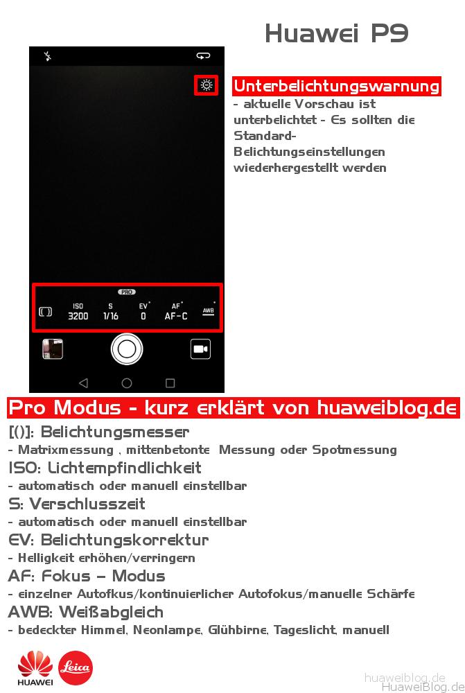 Wie funktioniert der Pro Modus beim Huawei P9 - Erkärung
